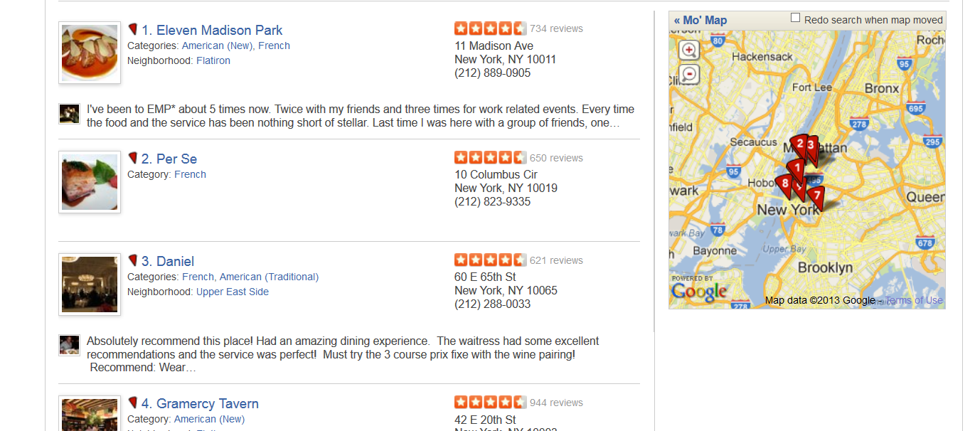 Yelp Search Results
